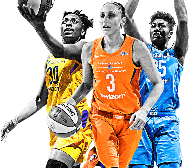 WNBA Players from left to right - Nneka Ogwumike, Diana Taurasi, Angel McCoughtry