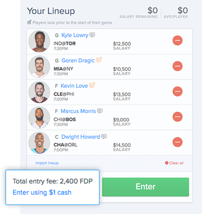 FanDuel Points Screenshot