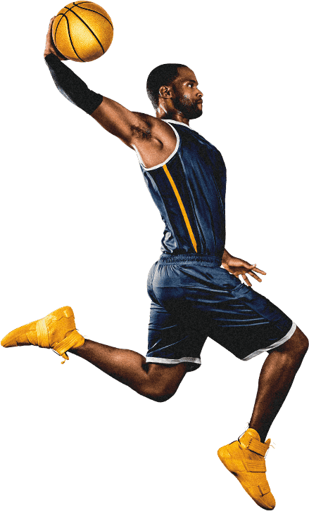 Player dunking a gold basketball